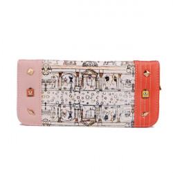 Kvinnor Tryckt Rivet Crown Lång Plånbok