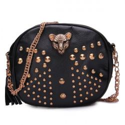Women Punk Leopard Head Rivets Bag
