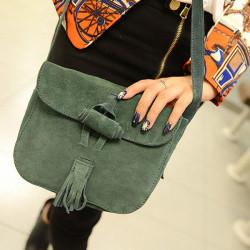 Women Retro Matte Leather Tassel Crossbody Bag