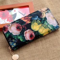 Women Retro Oil Painting Flower Ladies PU Leather Long Wallet Purse