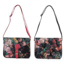 Kvinder Retro Små Oil Blomster Maleri Håndtaske Skuldertaske Crossover taske