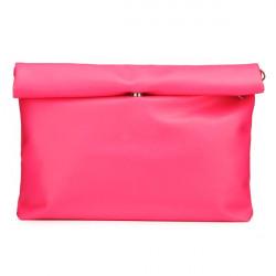 Women Rolled Hem Pu Leather Clutch Bag