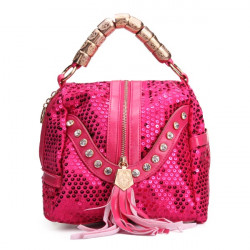 Women Seuqin Tassel Bucket Bag