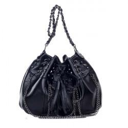 Kvinder Skull Tassel Rivet Bucket Bag Skuldertaske