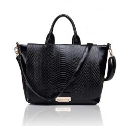 Women Snake Skin Stria Handbag Messenger PU Leather Shoulder Bag