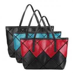 Kvinnor Sy Färgpläd Cube Casual Handväska Axel Big Bag