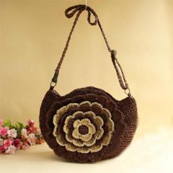 Women Straw Flower Beach Bag Shoulder Bag