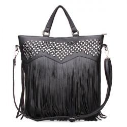Kvinnor Tassel Black Big Bag PU Läder Handväska