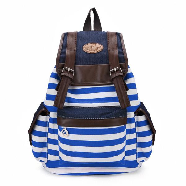 Kvinnor Unisex Ryggsäck Canvas Stripe Fritid Väskor Studenter School Bag Damväskor