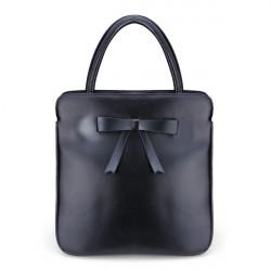 Women Vintage Messenger Handbag Bow Tie Cowhide Leather Shoulder Bag