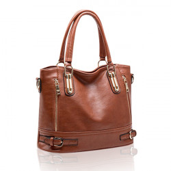 Women Vintage Side-Zipper Buckle PU Leather Tote Shoulder Bags