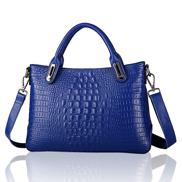 Women's Big Cowhide Leather Portable Crocodile Shoulder Crossbody Bag Women's Bags