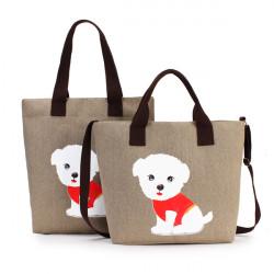 Kvinders Dejlig Håndtaske Dog Mønster Shoulder Canvas Lynlåsposer