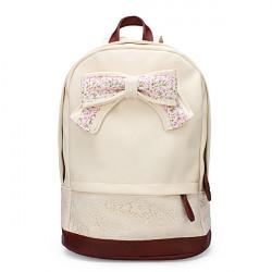 Frauen PU Leder Schul Spitze Bogen Rucksack Sweet Girl Bookbag