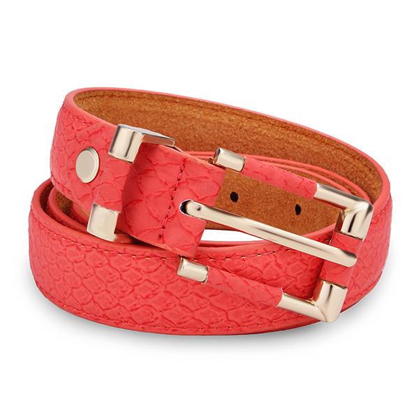 100CM Kvinder Belt Serpentine PU Læder Rose Gold Pin Buckle Strip Dametøj