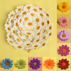 100Pcs Artificial Daisy Flower Silk Flowers Heads Wedding Home Decors