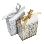 100pcs Guld Sølv Ribbon Bryllupsfest Gift Favor Candy Papir Æsker Dametøj