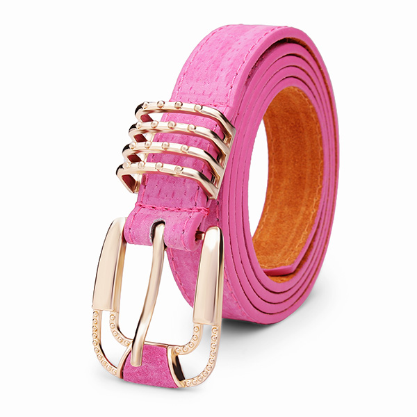 102cm Womens Belt Svinelæder Frosted Koskind Pin Buckle Strip Dametøj