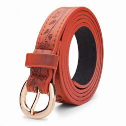 104CM Women Belt Genuine Embossed Leather  Leaves Pattern Round Pin Buckle
