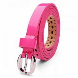 109CM Womens Belt Pierced PU Alloy Pin Buckle Hollow Out Strip