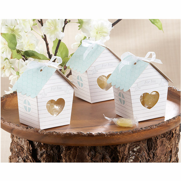 10stk Mini House Candy Boxes med Clear Heart Bryllup Fordel Gift Dametøj