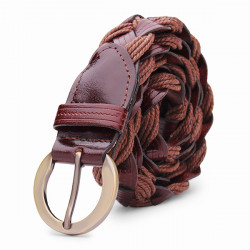 110CM Women Belt Bonded Leather Weaving Pattren Pin Buckle Strip