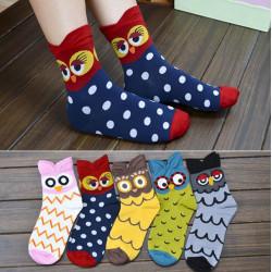1Pair Frauen Socken Warm Cotton Eulen Muster Karikatur nette Strumpfwaren