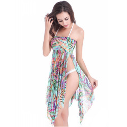 2015 New Sexy Flower Floral Women Beach Towel Dress Bikini Swimwear