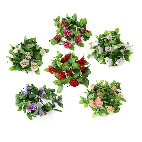 2.5m Konstsilke Rose Blomster Garland Party Heminredning Damkläder