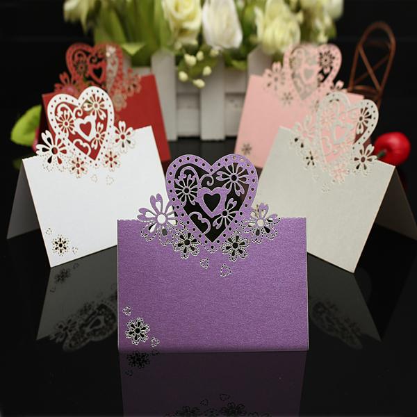 50stk Romantische Ästethik Laser aushöhlen Hochzeits Tabellen Namenskarte Damenbekleidung