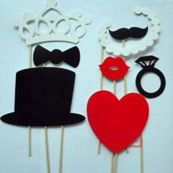 8st DIY Mask Photo Booth Props Bröllop Födelsedagsfest Rolig Favör