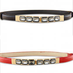Adjustable Japanned Leather Gem Small Belt