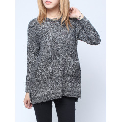 Asymmetrie Pullover Lang Hülse lose Strickwaren