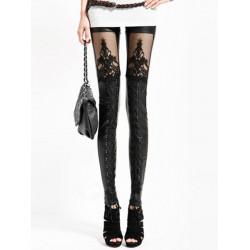 Hösten Faux PU Läder Retro Gotisk Punk Stil Lace Svarta Leggings