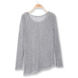 Autumn Women Hollow Out Long Sleeve Round Collar Sweater
