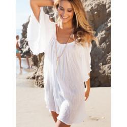 BOHO Sexy Kvinna Rufsar Sleeve Off Shoulder Chiffon Beach Klänning