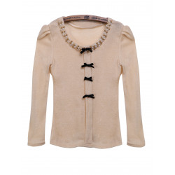 Beaded Casual Bow Pullover Ull O-ringad Tröja