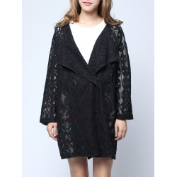 Big Lapel Collar Hollow Out Batwing Sleeve Printed Coat