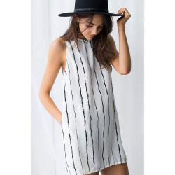 Black And White Vertical Striped Dresses For Women Sleeveless Striped Chiffon Casual Dress