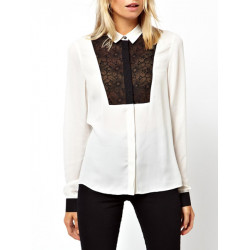 Schwarz Organza Stitching Revers Chiffon  weiße Bluse