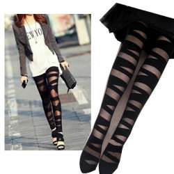 Black Ripped Stretch Pantyhose Tights Stockings Leggings