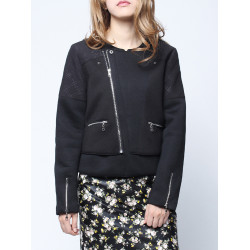 Black Short Zipper Long sleeve Cotton Coat