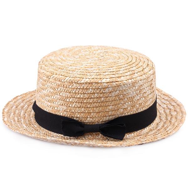 Sort Bowknot Ribbon Rattan Flettet Artikler Straw Hat Dametøj