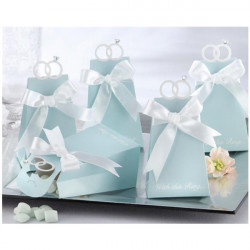 Blue Diamond Ring Style Paper Bryllup Candy Boxes