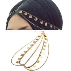 BoHo Metal Smykker Pailletter Tassel Hair Kæde Headband Medaljon