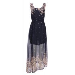 Böhmen Blumen Farbe runde Kragen trägerloses langes Kleid