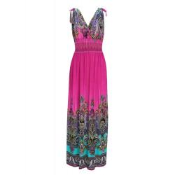 Bohemia Flowers Printed Sleeveless V-Collar Strapless Beach Long Dress