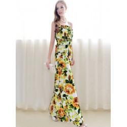 Bohemian Printing Flowers Long Dress Strap Jumpersuit