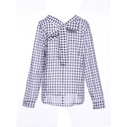 Bowknot Elegant And Sweet Plaid Shirt