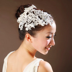 Bridal Lace Hair Accessories Wedding Jewelry Pearl Garland Headband